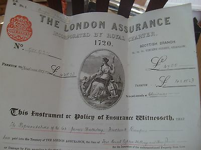 The London Assurance 1886 Vintage Fire Insurance Policy