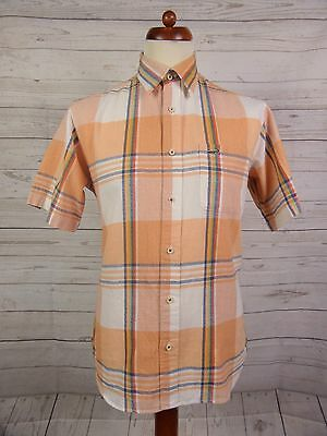 Vtg S-Sleeve Orange Bright Check Cotton Linen Shirt By Crocodile -M-  DO05