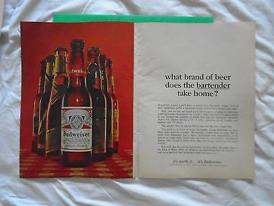 #2 1960's Budweiser Beer 2 page magazine print ad advertisement