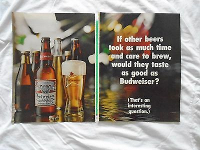 #3 1960's Budweiser Beer 2 page magazine print ad advertisement