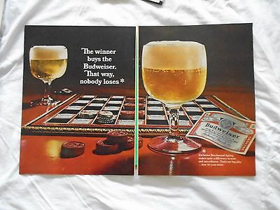 #4 1960's Budweiser Beer 2 page magazine print ad advertisement