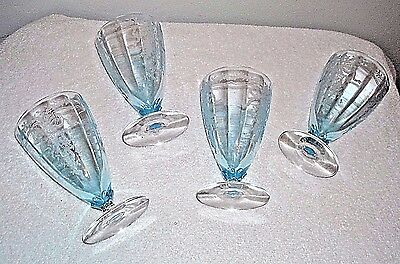 (4) Fostoria June Azure Blue Cocktail Water Wine Footed Tumbler Glass 5 1/4""