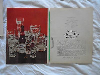 #5 1960's Budweiser Beer 2 page magazine print ad advertisement