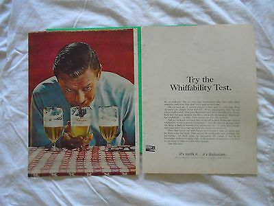 #6 1960's Budweiser Beer 2 page magazine print ad advertisement