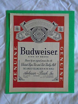 #7 1960's Budweiser Beer Classic Label 1 page magazine print ad advertisement