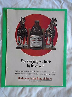 #8 1960's Budweiser Beer Clydesdale Bookends magazine print ad advertisement