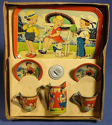 Altes Blech Kinder Kaffee Tee Service Puppenstube 20's Matrose Doll Tin Toy E171