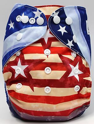 Flag Patriotic 4th of July fourth American one-size pocket cloth diaper SHIPS US