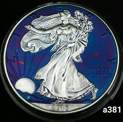 2016 Rainbow Monster Toned Silver American Eagle Coin 1oz  uncirculated #a381