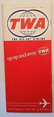 TWA the All Jet Airline Worldwide System Timetable September 1, 1968