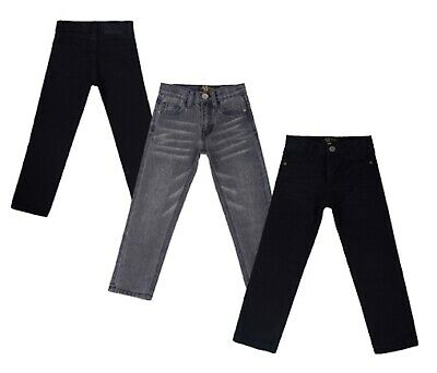 Boys Jeans Cotton Black Grey Slim Fit Skinny Jeans Trousers Age 2 - 16 Years