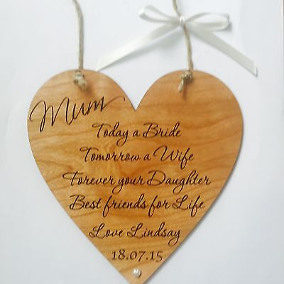 Mum wedding gift favour thank you wooden heart plaque sign shabby chic vintage