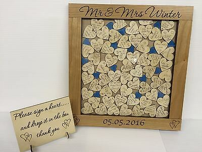 Personalised luxury cherrywood blue hearts drop box wedding guest book gift
