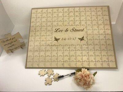 Personalised wooden butterfly wedding guest book jigsaw puzzle anniversary gift
