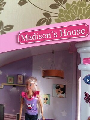 Personalised Dolls House Street Name Sign Pink Barbie Childrens Toys Gift