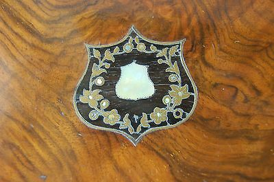 Beautiful Antique inlaid sewing box - wood, brass, mother of pearl