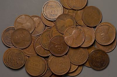 Lot of 50 1914-P Wheat Pennies Full Roll - NO RESERVE!!!