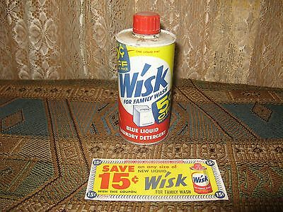 Vintage Wisk Blue Liquid  Laundry Detergent  Can  ( Rare ) 1950s / 1960s