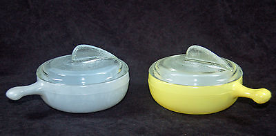 Vintage Glasbake French Casserole Lug Handle Soup Bowls / Sundial Lids