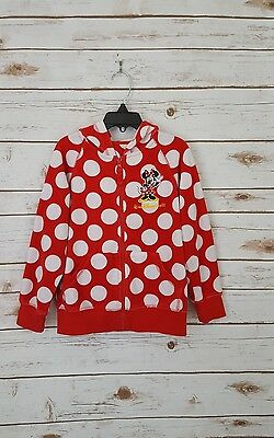 Disney Parks Authentic Original Kids Polka Dot Hooded Zip Up Sweater Size Small