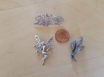 "3 vintage Silver Brooches, Incl. fairy 925, marcasite marked ""silver"" brooch"