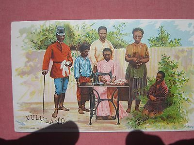 ZULULAND / SINGER SEWING MACHINE vintage coloured TRADE CARD 1900's?