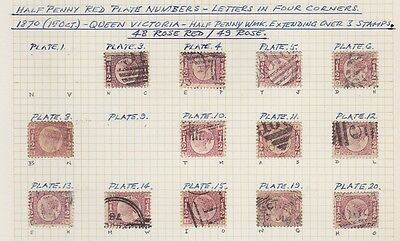 GB QV 1870 ½d rose red plate collection on part album page sg48-49