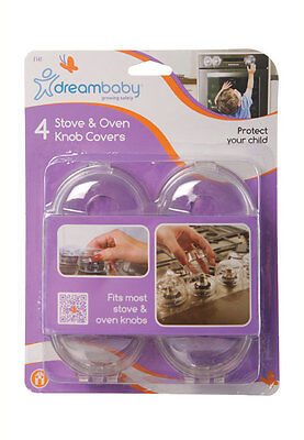 Dreambaby Child Toddler Safety Oven Stove Knob Covers Clear 4 Pack