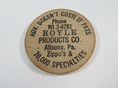 Vintage Royle Products Co. Altoono PA Zippos Wooden Nickel Advertising Token