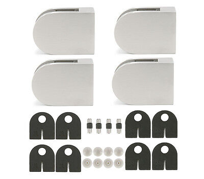 316 Stainless Steel Round Glass Clamp Bracket for Square Tube, 4-Pack