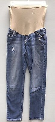 Joes Jeans 26 Maternity Distressed Light Wash Skinny Leg Belly Band Denim Ankle