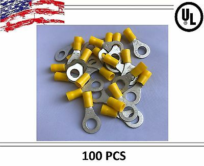 "(100) Yellow VINYL 12-10 5/16"" Ga Wire Ring Terminal Crimp Connector Car/SUV/ATV"