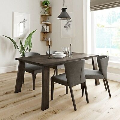 Reeves - Lincoln walnut dining table with 4x Hudson grey dining chairs