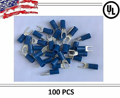 (100) Blue VINYL 16-14 #8 AWG Ga Wire Spade Terminal Crimp Connector Car/SUV/ATV