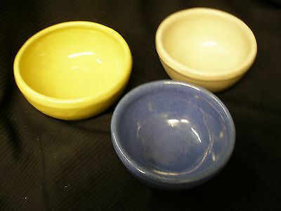 Vintage Lot Set 3 Bybee Kentucky Pottery Bowls Blue Beige Yellow Bb Clay