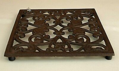 Square Trivet Tea Pot Pan Stand Dining Kitchen Worktop Protection 17cm Iron New