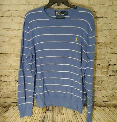 Polo Ralph Lauren Men's Size Large Sweater Blue Striped  Long Sleeve Pullover