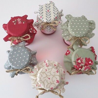 6 Homemade greenie selection of jam jar covers, labels bands and ties