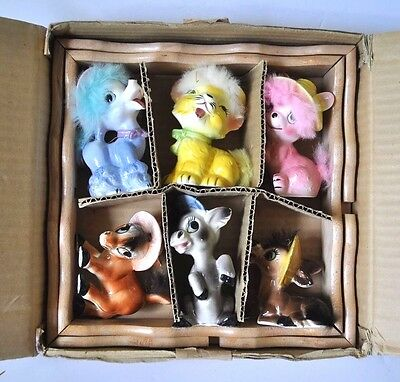 6 Vintage Japan Figurines with Fur in Original Box with Shelf
