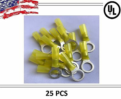 "(25) Yellow HEAT SHRINK 12-10 3/8"" Ga Wire Ring Terminal Connector Waterproof"