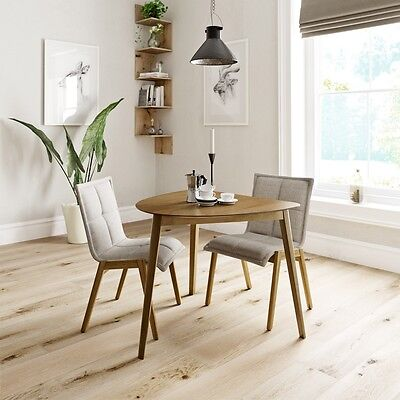 Reeves - Ernest oak table with 2x Hadley beige chairs