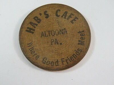 Vintage Hab's Cafe Altoona PA Advertising Wooden Nickel Collectible Token
