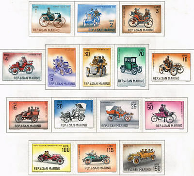 San Marino Famous Old Cars long set 15 stamps 1962 MLH