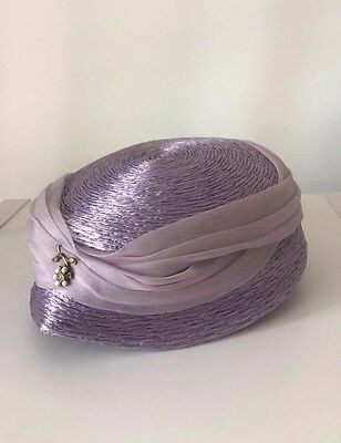 Woman's Vintage Lavender Tailored Phipps Straw Hat with delicate flower