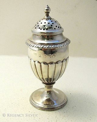 Georgian Antique Solid Sterling Silver English George III Pepper Shaker Caster