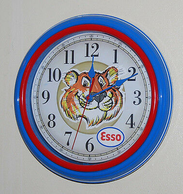 "Used 11"" Round ESSO Tiger in your tank WALL CLOCK Garage Mancave Office Shop"