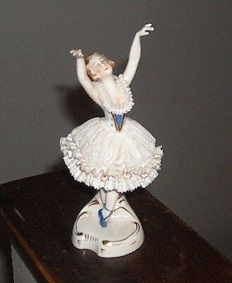 Dresden  German Lady Figurine Ballerina  Blue Slippers And Accents