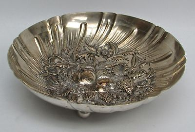 S Kirk & Son Sterling Silver Hand Chased Repousse High Relief Footed Fruit Bowl