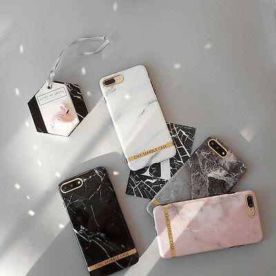 Stylish Fashion Chic Marble Glossy Soft Case Skin For iPhone X 7 8Plus iPhone 6S