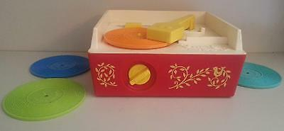 Vintage 1971 #995 Fisher Price Record Player with 4 Records Works Great